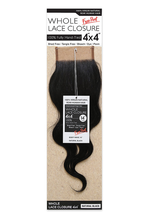 NATURAL LACE CLOSURE 4X4 BODY WAVE