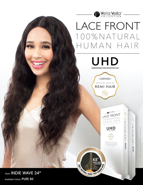 LACE FRONT NATURAL HUMAN HAIR - INDIE WAVE 24""