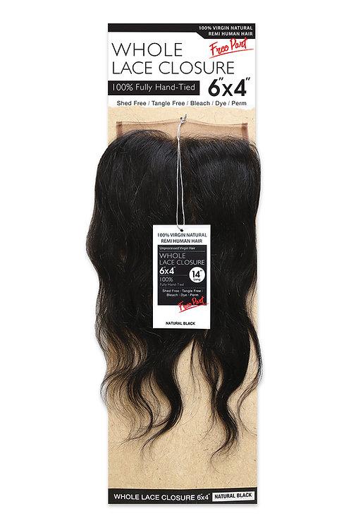 NATURAL LACE CLOSURE 6X4 BODY WAVE 14""