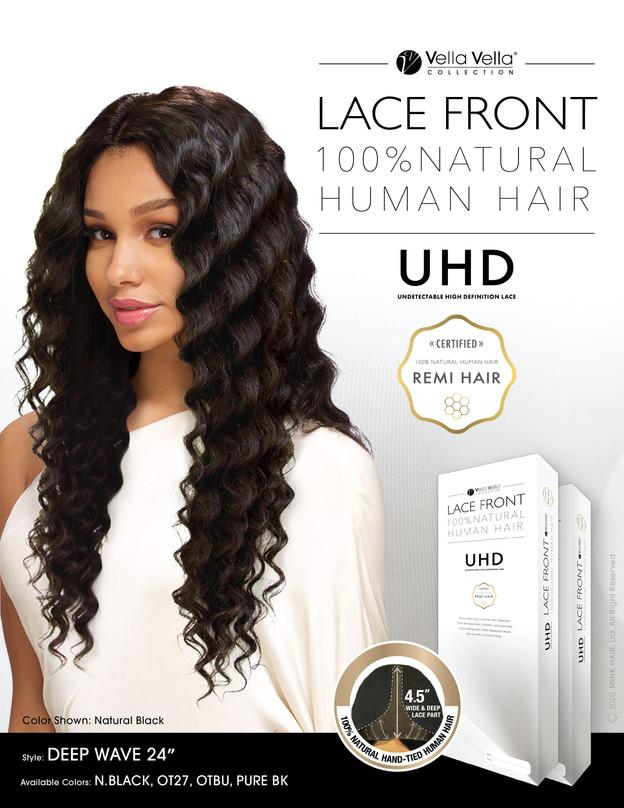 """LACE FRONT NATURAL HUMAN HAIR - DEEP WAVE 24"""""""