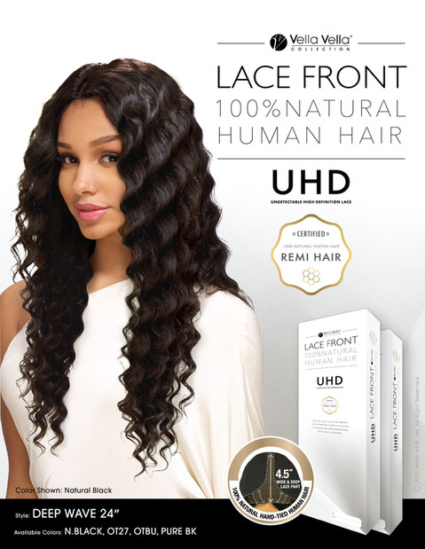 LACE FRONT NATURAL HUMAN HAIR - DEEP WAVE 24""