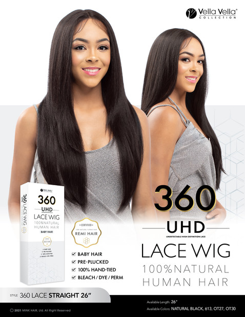 VELLA VELLA NATURAL HUMAN HAIR 360 LACE - STRAIGHT 26""
