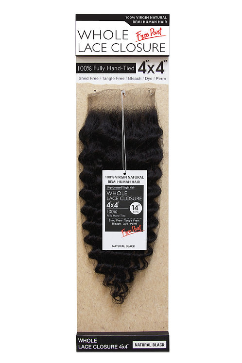 NATURAL LACE CLOSURE 4X4 PINEAPPLE WAVE 14""