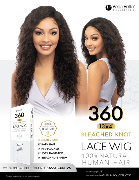 "VELLA VELLA NATURAL HUMAN HAIR 360 BLEACHED 13x4 LACE - SASSY CURL 26"""