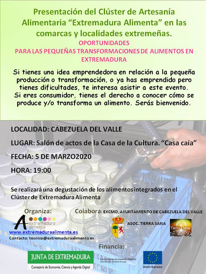 """Presentación del Clúster de Artesanía Alimentaria """"Extremadura Alimenta"""" en Cabezuela del"""