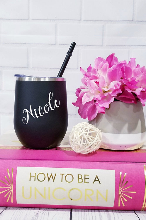 Custom Wine Tumbler with Straw