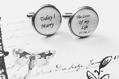 Today I Marry The Love Of My Life Wedding Cufflinks