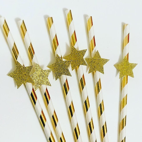 Gold Paper Straws (12 pack)