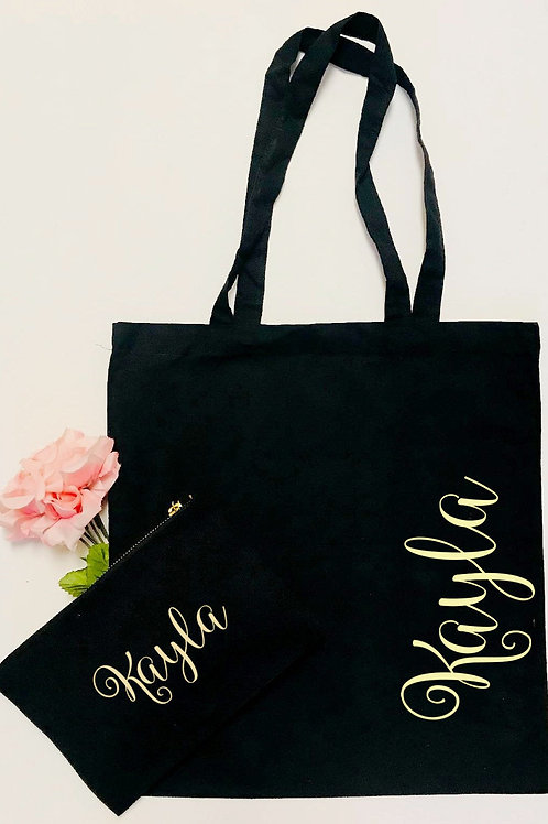 Personalized Canvas Tote and Cosmetic Bag Set