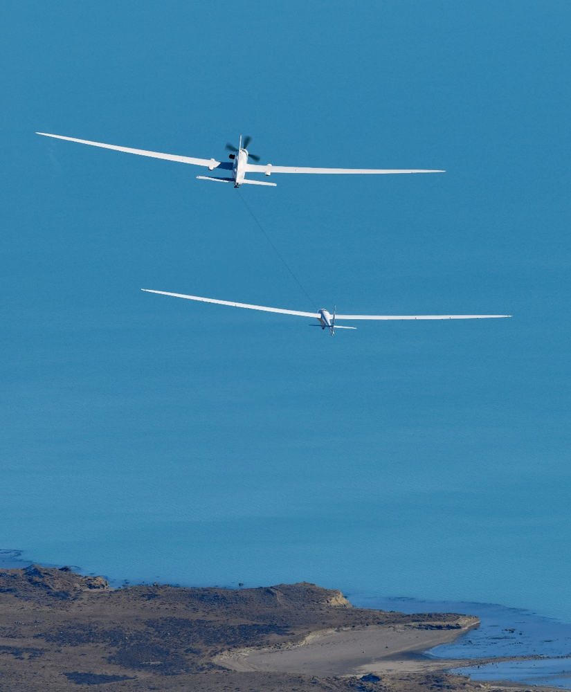 Perlan II Glider and Grob Egrett Over Argentina