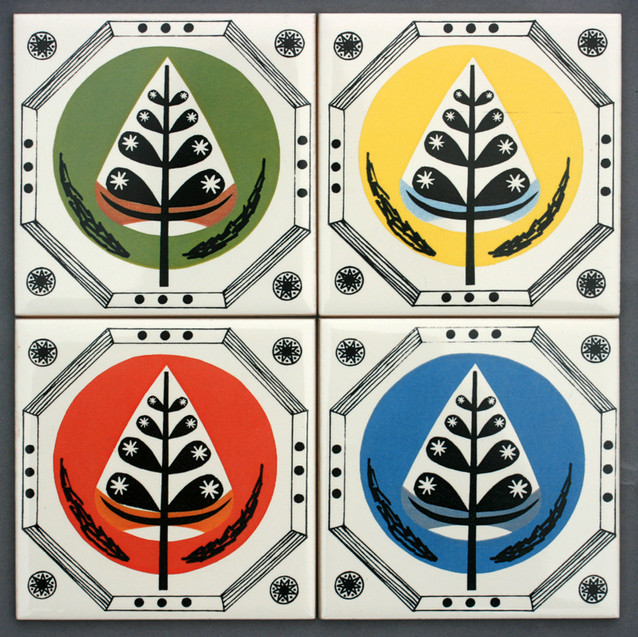 retro tree coasters x4