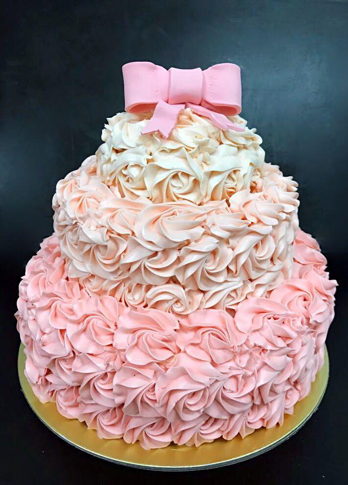 Pinky Ribbon Cake Design