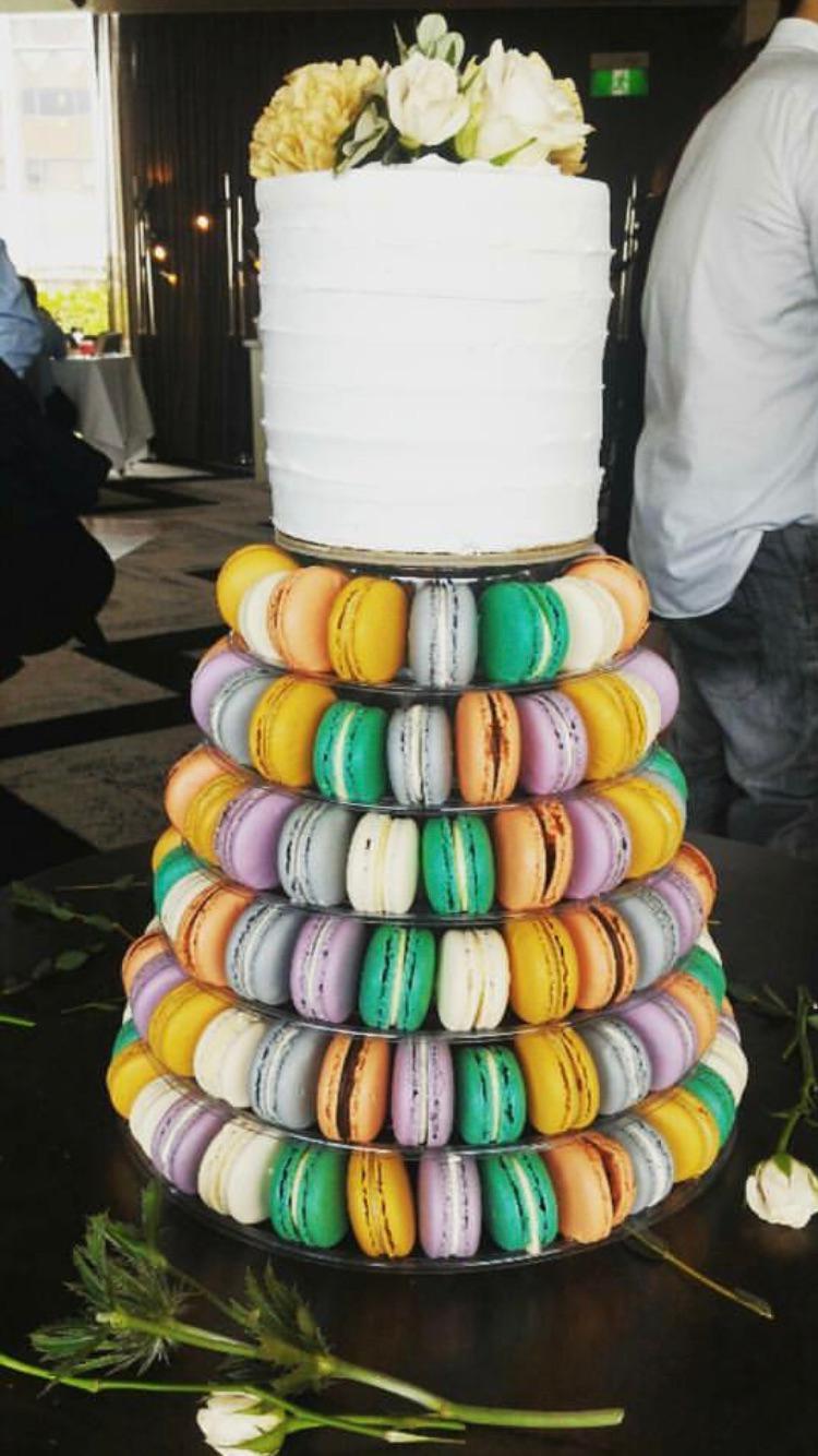 Wedding Cake and Macaroon Tower