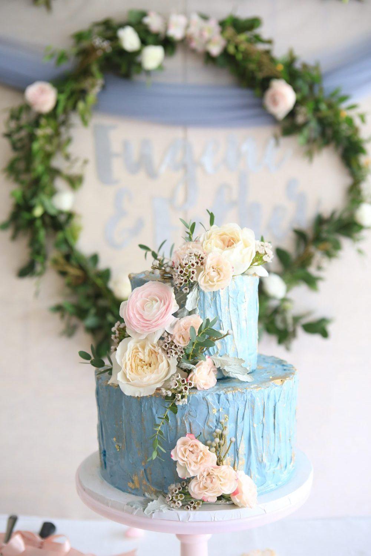 Blue Floral Cake Design