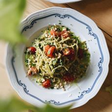 Carpenter and Cook's Basil Pesto Pasta