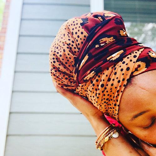 Cheetah Polka Dot Bonnet to Wrap
