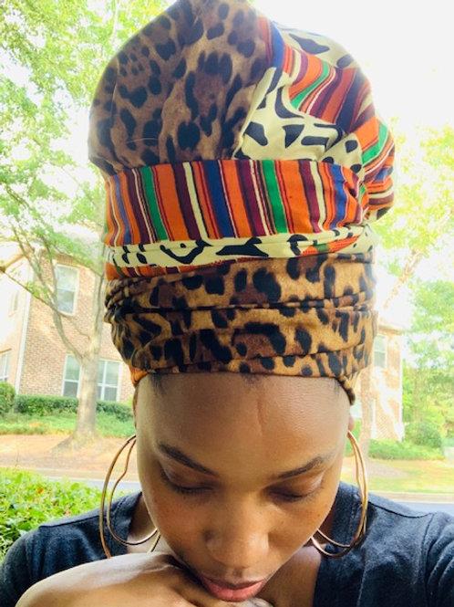 Kente Cheetah Bonnet to Wrap