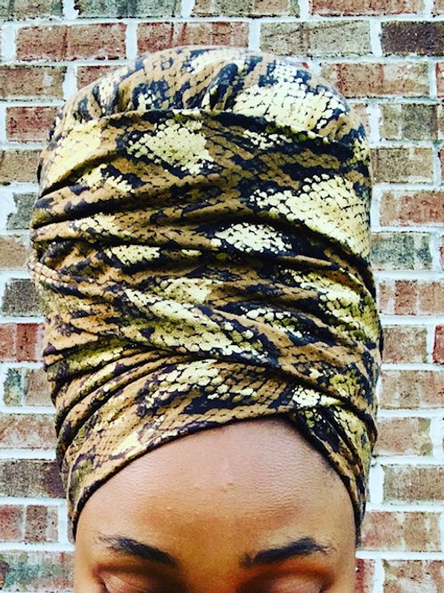 SUEDE GOLD CHEETAH BONNET TO WRAP