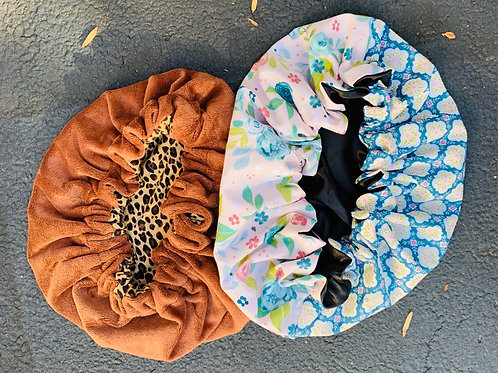 T-shirt Microfiber Towel Bonnet , Floral 100% Satin Bonnet & 2oz Aloe Spray