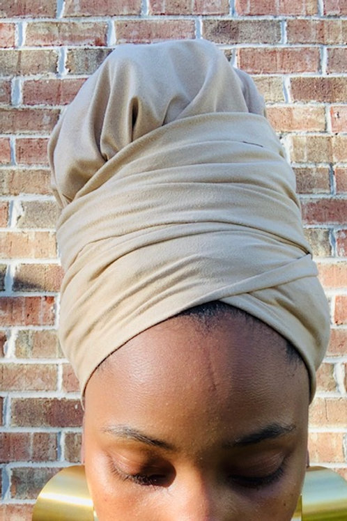 OATMEAL SUEDE BONNET TO WRAP