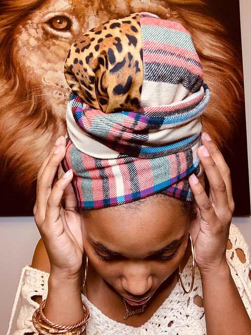 Plaid & Cheetah Bonnet to Wrap Set
