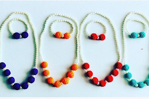 Crochet & Pearl Necklace & Bracelet