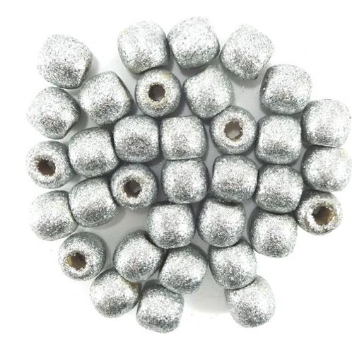 Sliver Spoon Glitter Wooden Beads
