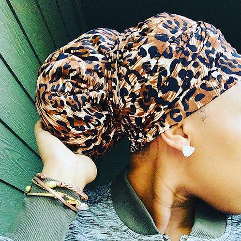 Stretch Cheetah Bonnet to Wrap Set