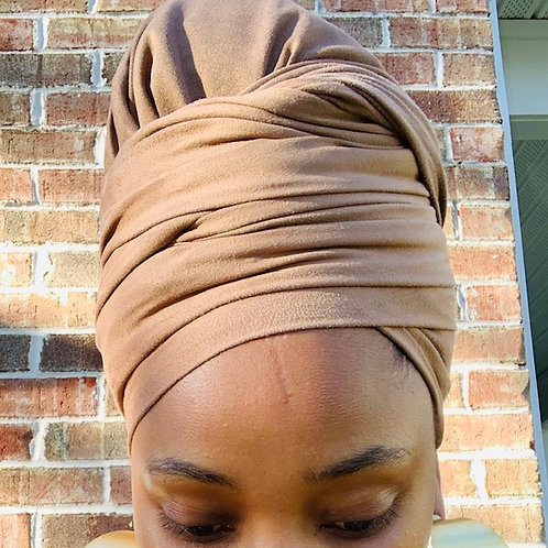 CARAMEL SUEDE BONNET TO WRAP