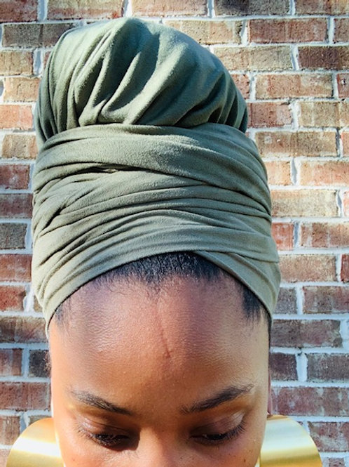 SUEDE OLIVE BONNET TO WRAP