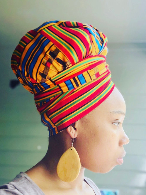 Red Kente Bonnet to Wrap