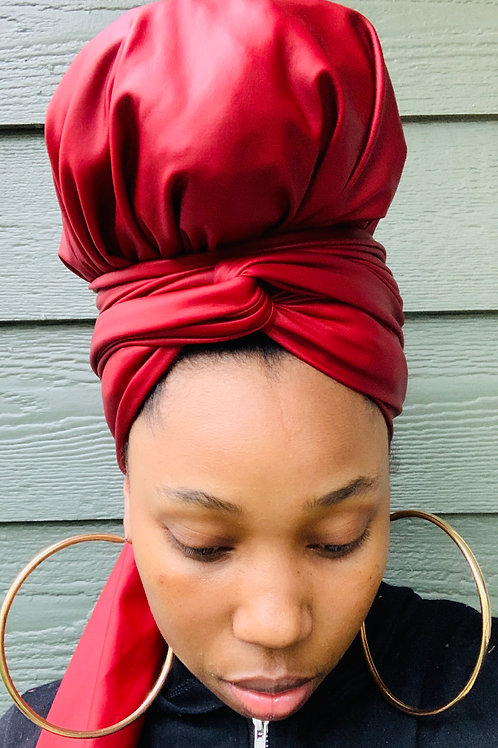 Red Leather Bonnet to Wrap