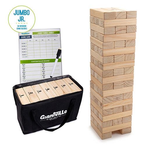 Giant Tumbling Timber Toy - 56 Jumbo Junior Wooden Blocks with Bag