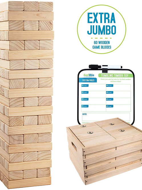 Giant Tumbling Timber Toy - 60 Extra Jumbo Wooden Blocks with Storage Crate