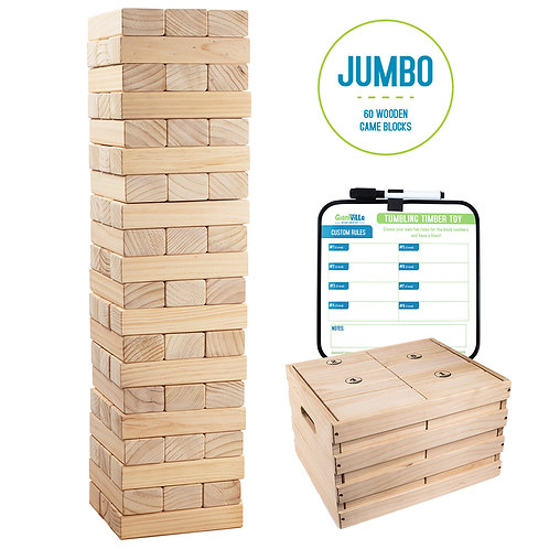 Giant Tumbling Timber Toy - 60 Jumbo Wooden Blocks with Storage Crate