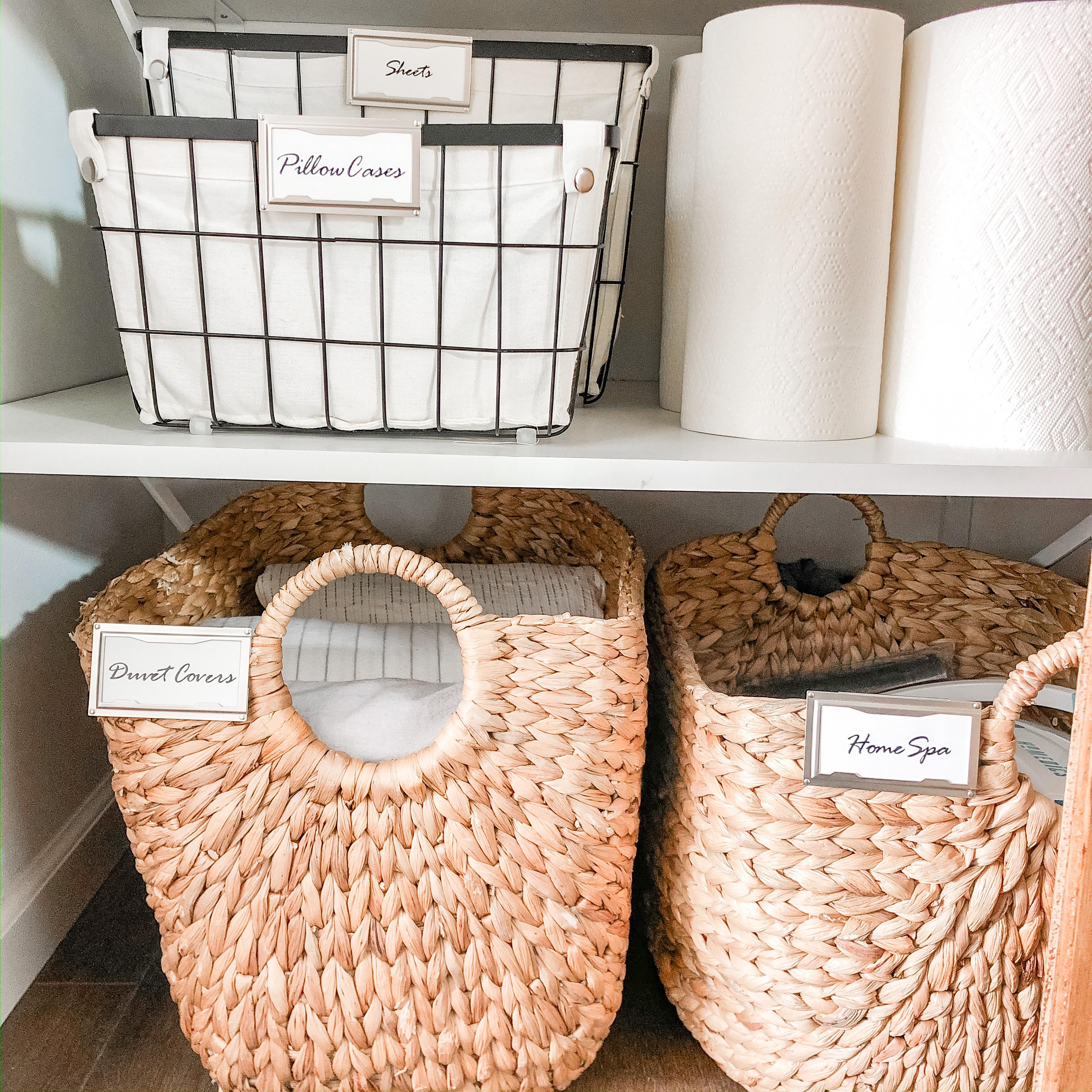 Linen Closet with Custom Labels