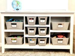 Playroom Storage with Custom Labels