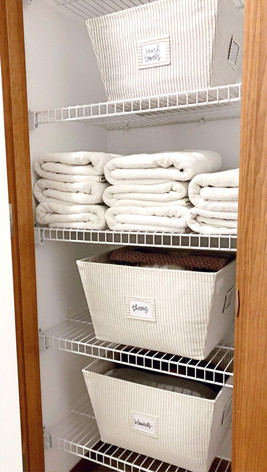 Linen Closet with Handwritten Labels