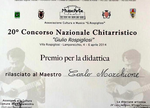 Carlo awarded for his didactical work by the most important Italian National Competition