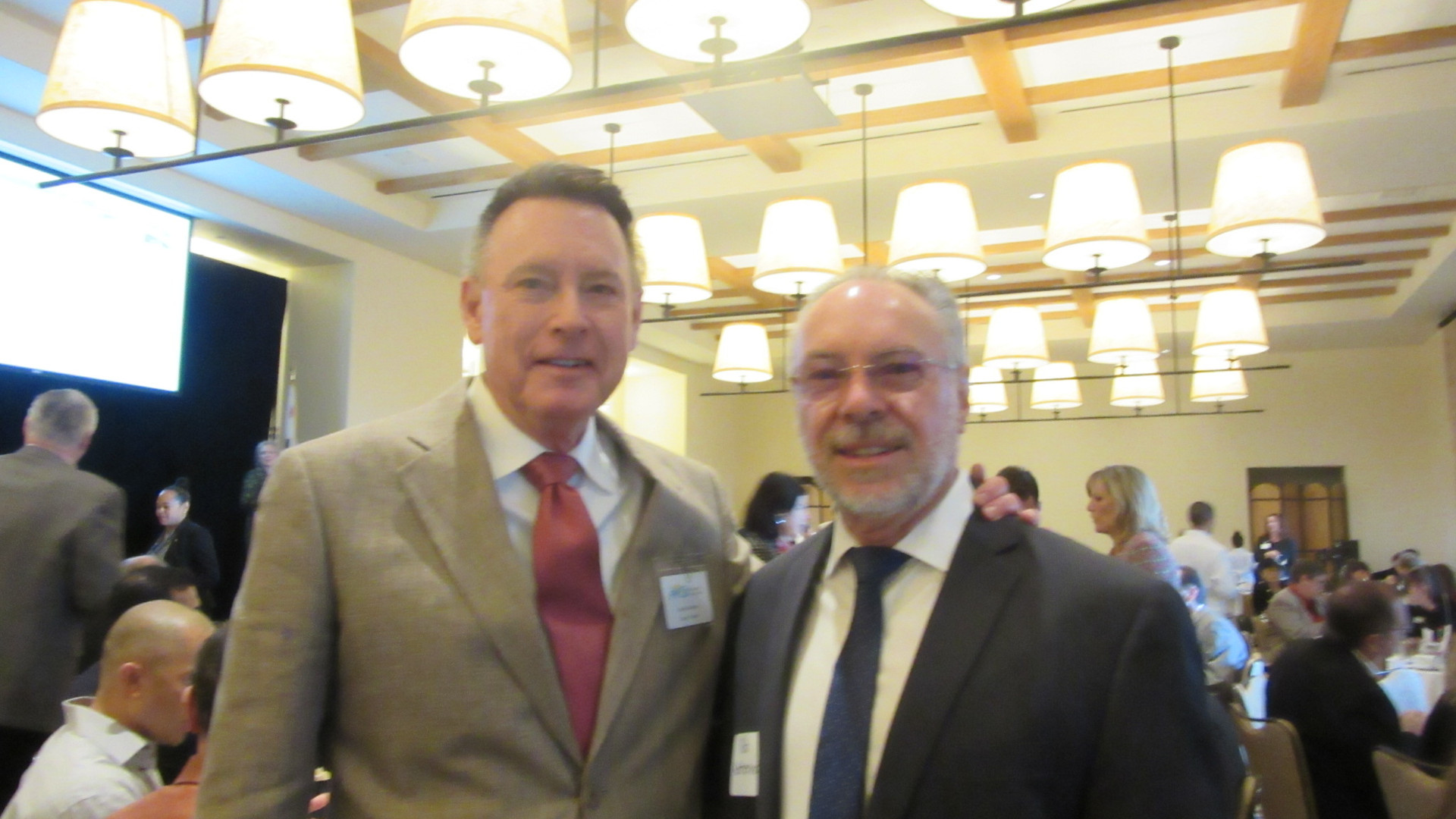 Sandy at Chamber event with Rob Katherma