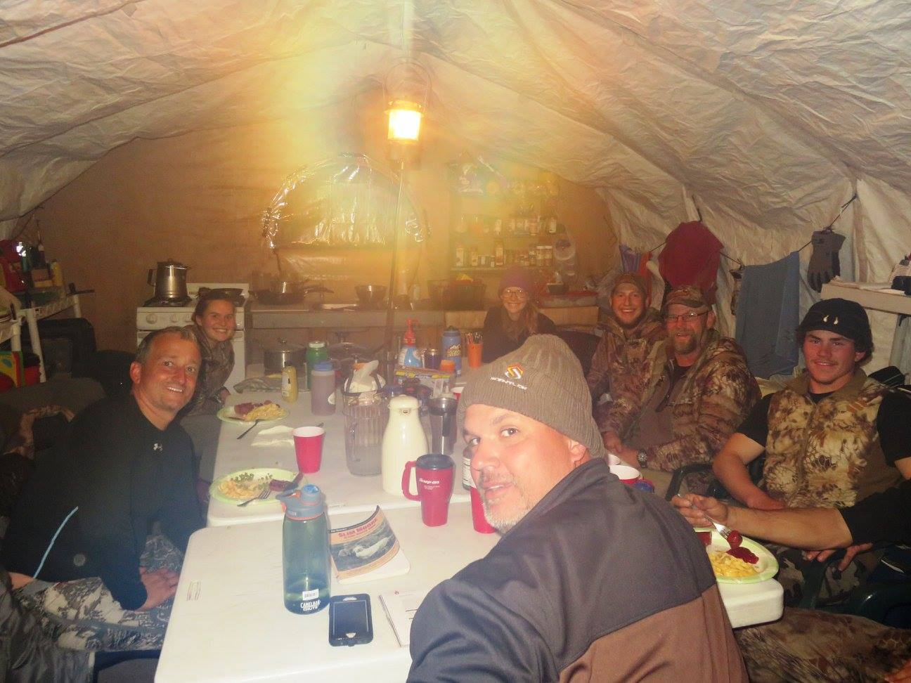 Happy clients at base camp in Alaska