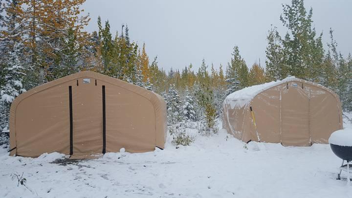 A snowy base camp at Snag Creek