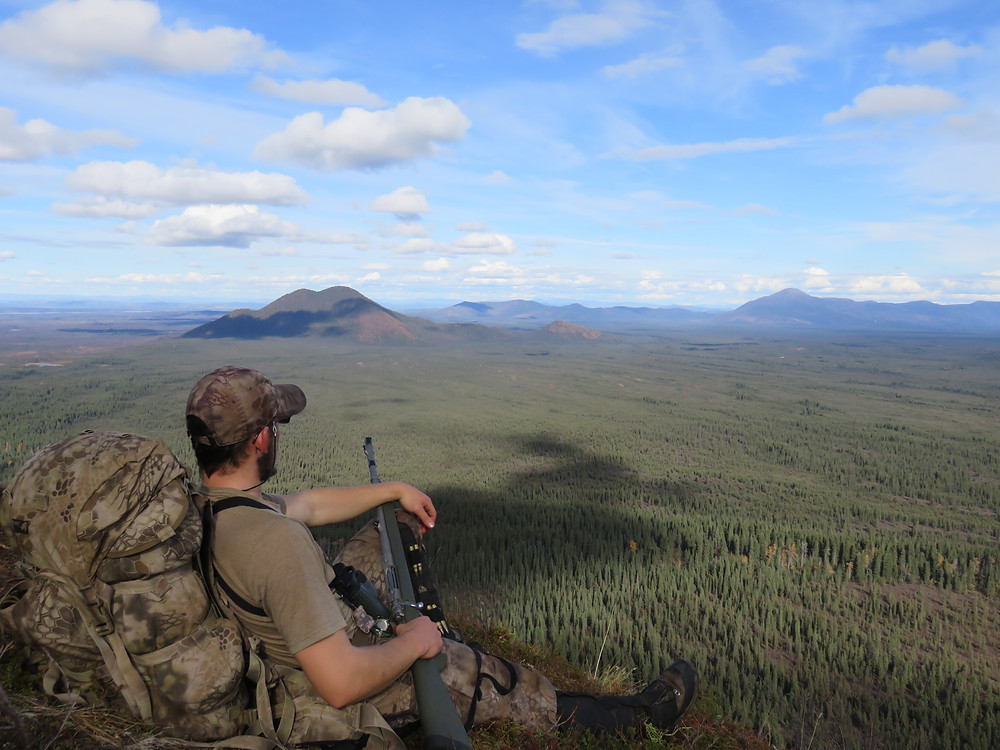Joshua on the lookout moose hunting in Alaska
