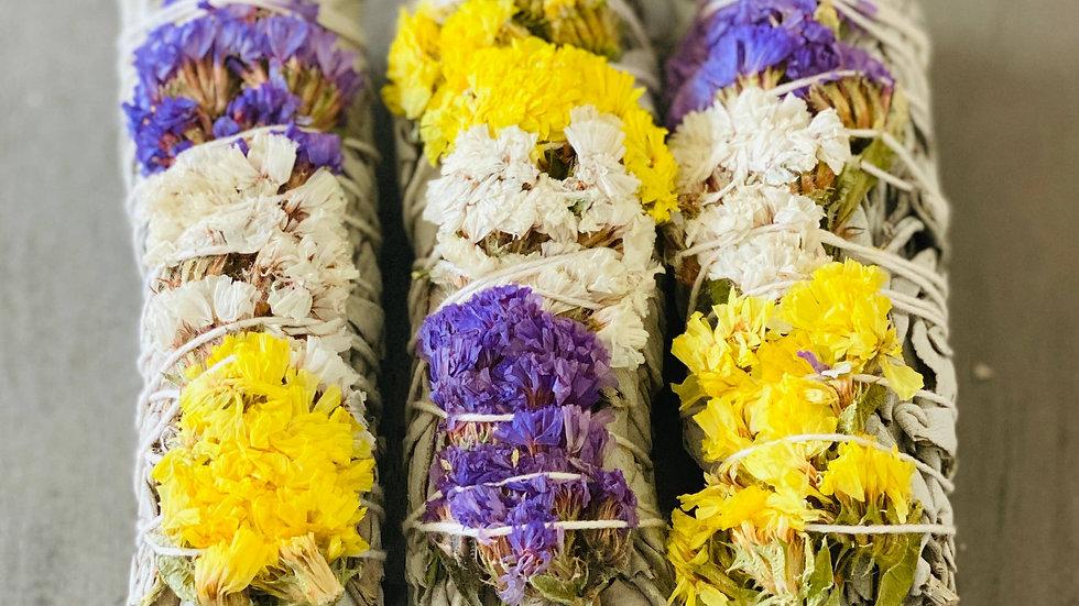 White Sage w/ Multi Sinuata Flowers Smudge Sticks