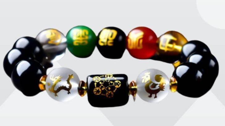 Five-Element Obsidian Feng Shui Bracelet Wealth & Prosperity