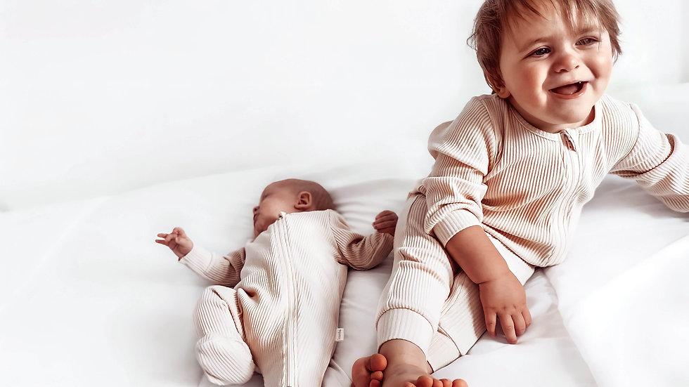 Shortbread Zip Up Ribbed Romper Babygrow Sleepsuit 0-3y Unisex