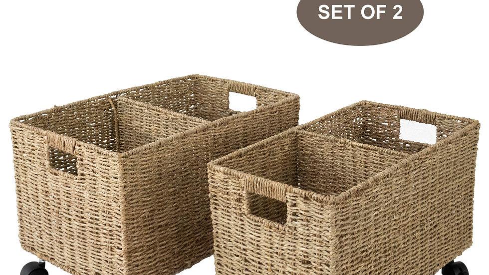 Set 2 baskets with wheels Under Counter & Under Desk Storage