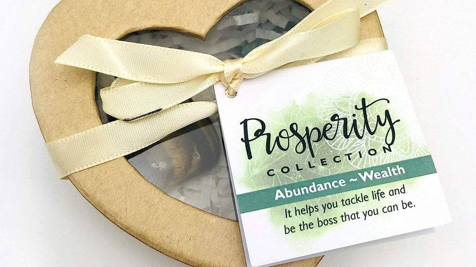 Crystal Healing Prosperity Set of Stones in Heart Shaped Box