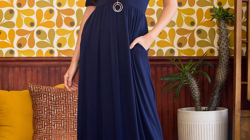Half Sleeve Scoop Neck Pocket Maxi Dress