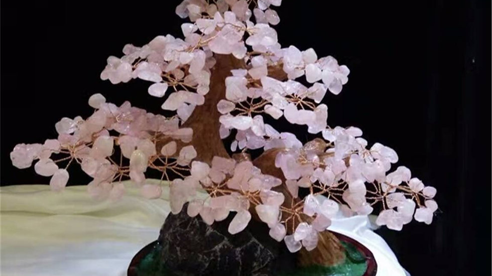 Lucky Tree Fengshui Rose Quartz Gemstone Tree